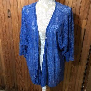LuLaRoe blue semi sheer cardigan, size Medium